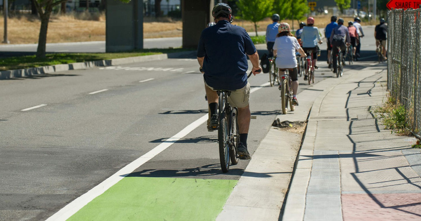 Bikers riding in bike lane